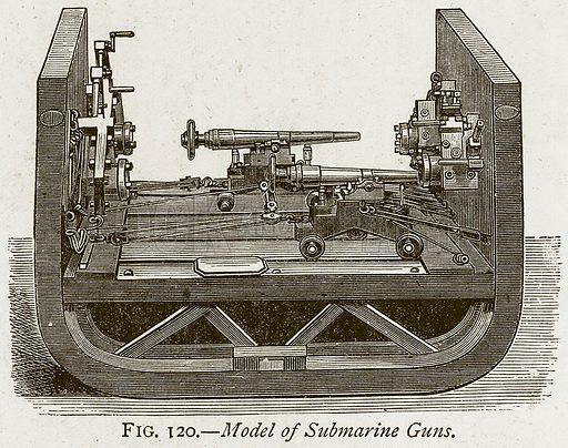 Model of Submarine Guns. Illustration from Discoveries and Inventions by Robert Routledge (9th edn, George Routledge, 1891).