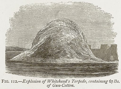 Explosion of Whitehead's Torpedo, containing 67 lbs. of Gun-Cotton. Illustration from Discoveries and Inventions by Robert Routledge (9th edn, George Routledge, 1891).