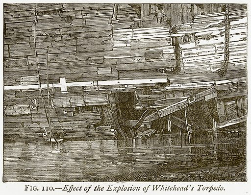 Effect of the Explosion of Whitehead's Torpedo. Illustration from Discoveries and Inventions by Robert Routledge (9th edn, George Routledge, 1891).