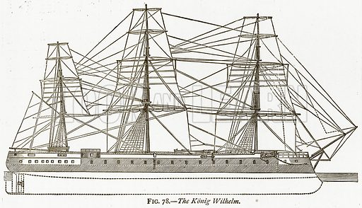 The Konig Wilhelm. Illustration from Discoveries and Inventions by Robert Routledge (9th edn, George Routledge, 1891).
