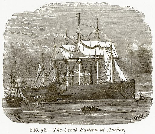 The Great Eastern at Anchor. Illustration from Discoveries and Inventions by Robert Routledge (9th edn, George Routledge, 1891).