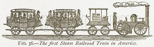 The First Steam Railroad Train in America. Illustration from Discoveries and Inventions by Robert Routledge (9th edn, George Routledge, 1891).