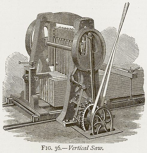 Vertical Saw. Illustration from Discoveries and Inventions by Robert Routledge (9th edn, George Routledge, 1891).