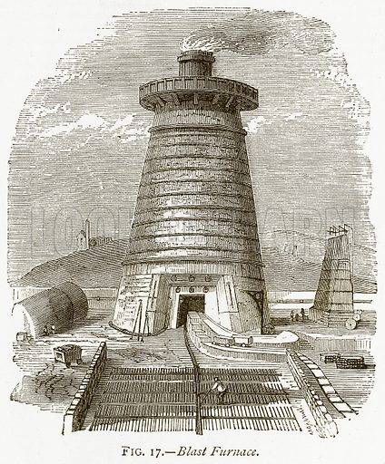 Blast Furnace. Illustration from Discoveries and Inventions by Robert Routledge (9th edn, George Routledge, 1891).