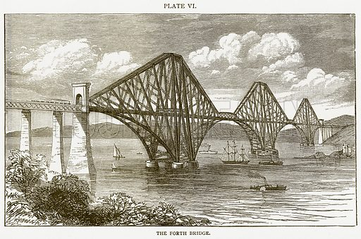 The Forth Bridge. Illustration from Discoveries and Inventions by Robert Routledge (9th edn, George Routledge, 1891).