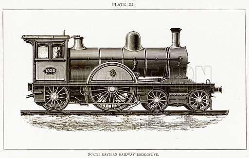 North Eastern Railway Locomotive. Illustration from Discoveries and Inventions by Robert Routledge (9th edn, George Routledge, 1891).