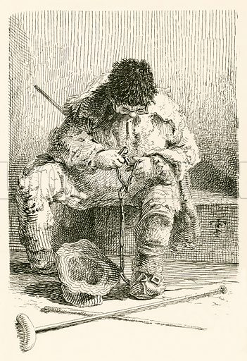 Chain maker, who said he was not a beggar; and if people would put money into his hat, surely it was not for him to turn it out. Illustration from Lives of Famous London Beggars by John Thomas Smith (Diprose and Bateman, c 1890).