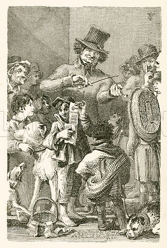 Street musician, who mimics the notes of the common English birds by means of a folded bit of tin, which is held between the teeth; but in order to engage the attention of the credulous, he pretends to draw his tones from tobacco pipes. Illustration from Lives of Famous London Beggars by John Thomas Smith (Diprose and Bateman, c 1890).