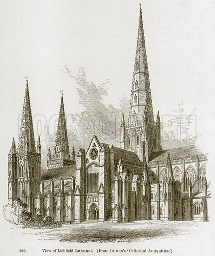 View of Lichfield Cathedral. Illustration from A History of Architecture by James Fergusson (John Murray, 1874).