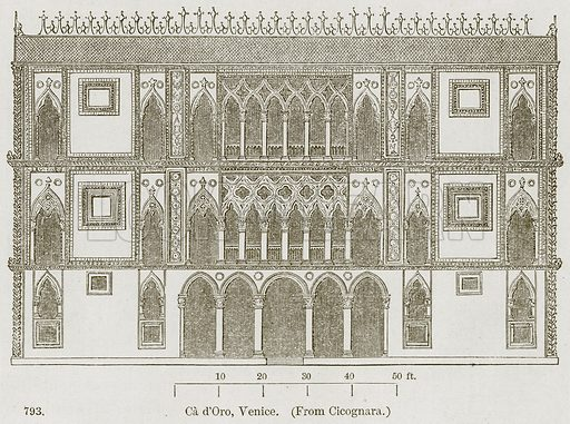 Ca d'Oro, Venice. Illustration from A History of Architecture by James Fergusson (John Murray, 1874).