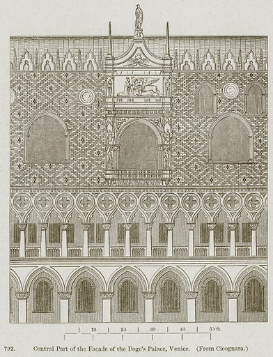 Central Part of the Facade of the Doge's Palace, Venice. Illustration from A History of Architecture by James Fergusson (John Murray, 1874).