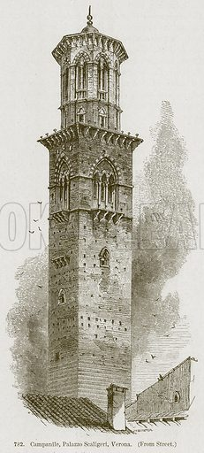 Campanile, Palazzo Scaligeri, Verona. Illustration from A History of Architecture by James Fergusson (John Murray, 1874).