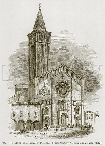 Facade of the Cathedral at Piacenza. Illustration from A History of Architecture by James Fergusson (John Murray, 1874).