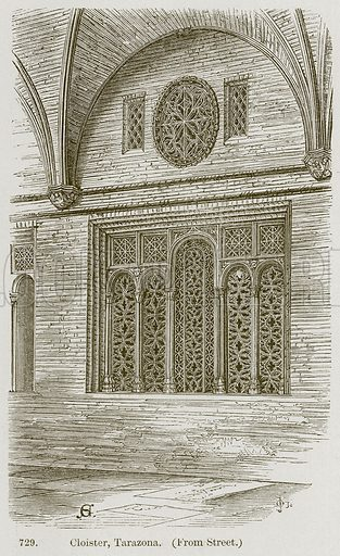 Cloister, Tarazona. Illustration from A History of Architecture by James Fergusson (John Murray, 1874).