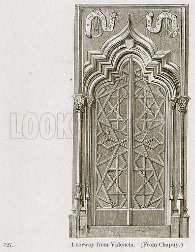 Doorway from Valencia. Illustration from A History of Architecture by James Fergusson (John Murray, 1874).