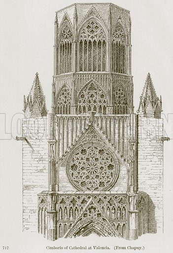 Cimborio of Cathedral at Valencia. Illustration from A History of Architecture by James Fergusson (John Murray, 1874).