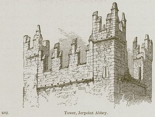 Tower, Jerpoint Abbey. Illustration from A History of Architecture by James Fergusson (John Murray, 1874).