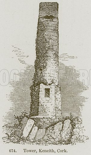 Tower, Keneith, Cork. Illustration from A History of Architecture by James Fergusson (John Murray, 1874).