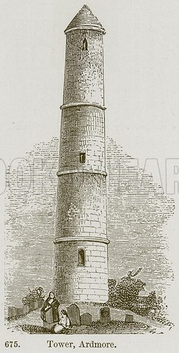 Tower, Ardmore. Illustration from A History of Architecture by James Fergusson (John Murray, 1874).