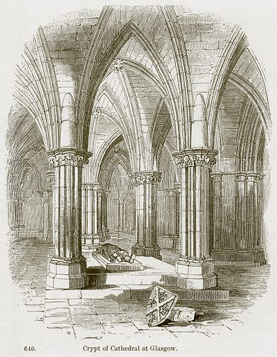 Crypt of Cathedral at Glasgow. Illustration from A History of Architecture by James Fergusson (John Murray, 1874).