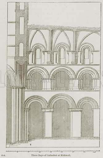 Three Bays of Cathedral at Kirkwall. Illustration from A History of Architecture by James Fergusson (John Murray, 1874).