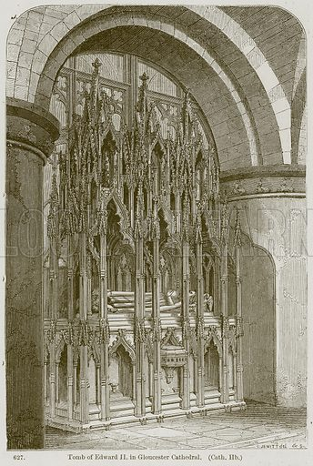 Tomb of Edward II in Gloucester Cathedral. (Cath. Hb.) Illustration from A History of Architecture by James Fergusson (John Murray, 1874).