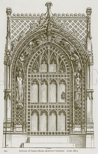 Doorway of Chapter-House, Rochester Cathedral. (Cath. Hb.) Illustration from A History of Architecture by James Fergusson (John Murray, 1874).