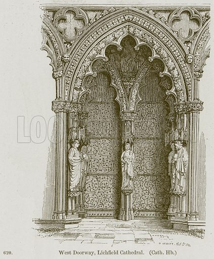 West Doorway, Lichfield Cathedral. (Cath. Hb.) Illustration from A History of Architecture by James Fergusson (John Murray, 1874).