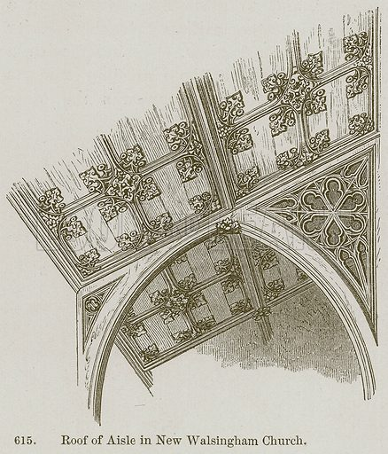 Roof of Aisle in New Walsingham Church. Illustration from A History of Architecture by James Fergusson (John Murray, 1874).