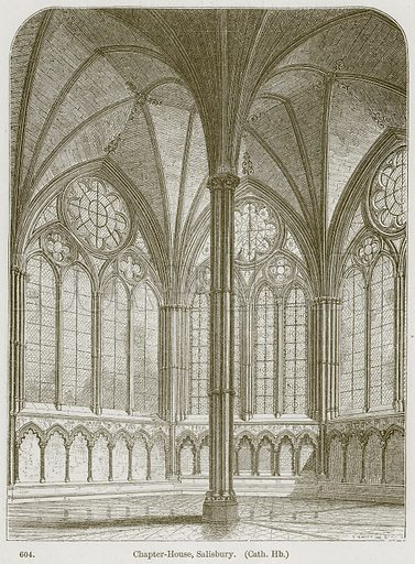 Chapter-House, Salisbury. (Cath. Hb.) Illustration from A History of Architecture by James Fergusson (John Murray, 1874).