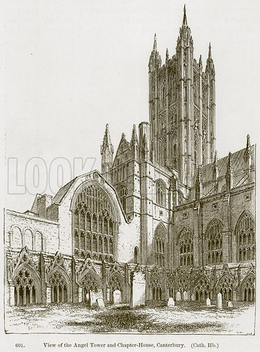 View of the Angel Tower and Chapter-House, Canterbury. ( Cath. Hb.) Illustration from A History of Architecture by James Fergusson (John Murray, 1874).
