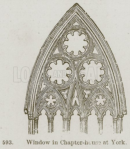 Window in Chapter-House at York. Illustration from A History of Architecture by James Fergusson (John Murray, 1874).
