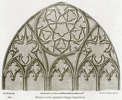 Window in St. Anselm's Chapel, Canterbury. Illustration from A History of Architecture by James Fergusson (John Murray, 1874).