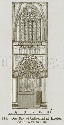 One Bay of Cathedral at Exeter. Illustration from A History of Architecture by James Fergusson (John Murray, 1874).