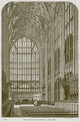 Choir of Gloucester Cathedral. (Cath. Hb.) Illustration from A History of Architecture by James Fergusson (John Murray, 1874).