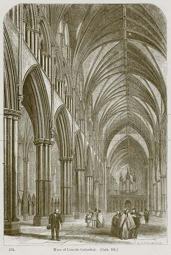 Nave of Lincoln Cathedral. (Cath. Hb.) Illustration from A History of Architecture by James Fergusson (John Murray, 1874).