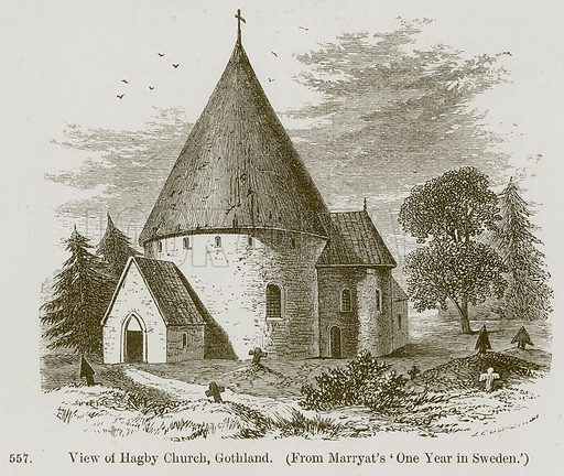 View of Hagby Church, Gothland. Illustration from A History of Architecture by James Fergusson (John Murray, 1874).