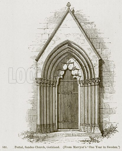 Portal, Sandeo Church, Gothland. Illustration from A History of Architecture by James Fergusson (John Murray, 1874).