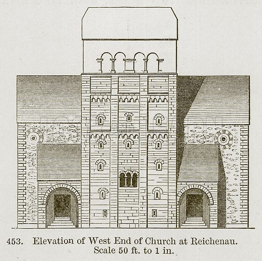 Elevation of West End of Church at Reichenau. Illustration from A History of Architecture by James Fergusson (John Murray, 1874).