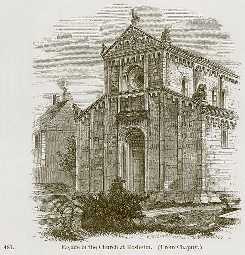 Facade of the Church at Rosheim. Illustration from A History of Architecture by James Fergusson (John Murray, 1874).