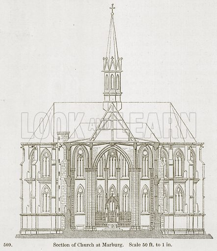 Section of Church at Marburg. Illustration from A History of Architecture by James Fergusson (John Murray, 1874).