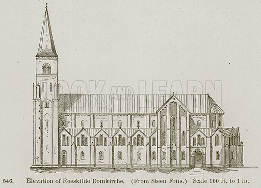 Elevation of Roeskilde Domkirche. Illustration from A History of Architecture by James Fergusson (John Murray, 1874).