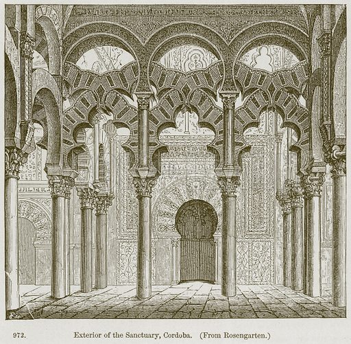 Exterior of the Sanctuary, Cordoba. Illustration from A History of Architecture by James Fergusson (John Murray, 1874).