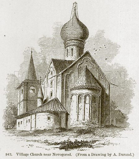 Village Church near Novogorod. Illustration from A History of Architecture by James Fergusson (John Murray, 1874).