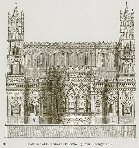 East End of Cathedral at Palermo. Illustration from A History of Architecture by James Fergusson (John Murray, 1874).