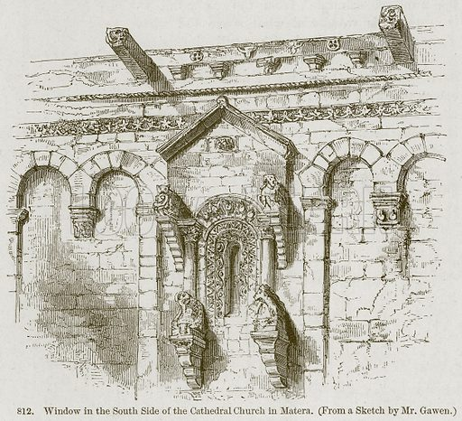 Window in the South Side of the Cathedral Church in Matera. Illustration from A History of Architecture by James Fergusson (John Murray, 1874).