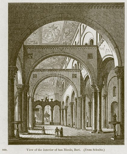 View of the Interior of San Nicolo, Bari. Illustration from A History of Architecture by James Fergusson (John Murray, 1874).