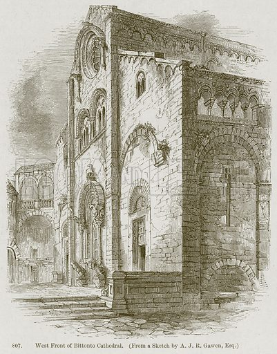West Front of Bittonto Cathedral. Illustration from A History of Architecture by James Fergusson (John Murray, 1874).