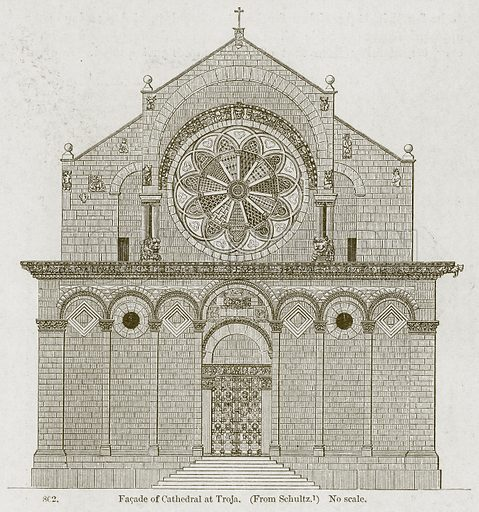 Facade of Cathedral at Troja. Illustration from A History of Architecture by James Fergusson (John Murray, 1874).