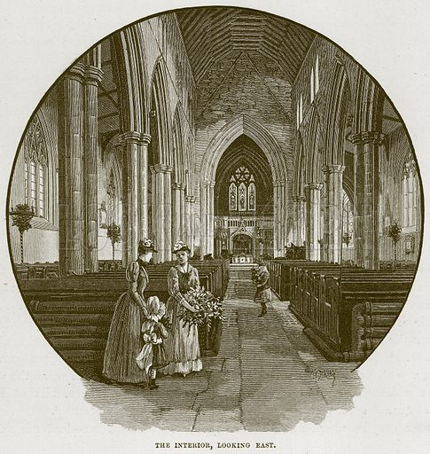 The Interior, looking East. Illustration from Cathedrals, Abbeys and Churches by T G Bonney (Cassell, 1891).